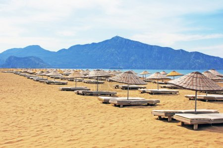 Sun loungers on a famous Iztuzu beach in Turkey