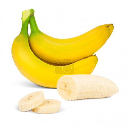 Photo for Banana with slices isolated on white - Royalty Free Image