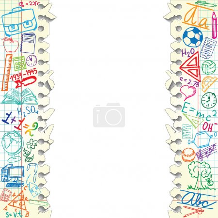 Illustration for Background made of papers with colorful school symbols - Royalty Free Image