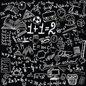 Blackboard with school symbols - vector illustration