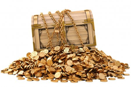 Photo for Old wooden chest in chains on a pile of gold coins. isolated on white. - Royalty Free Image