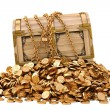 Old wooden chest in chains on a pile of gold coins...