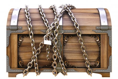 Photo for Old wooden chest in chains isolated on white. - Royalty Free Image