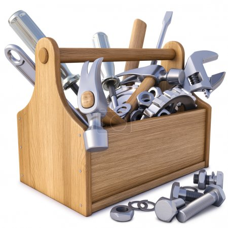 Photo for Wooden toolbox with tools. isolated on white. - Royalty Free Image