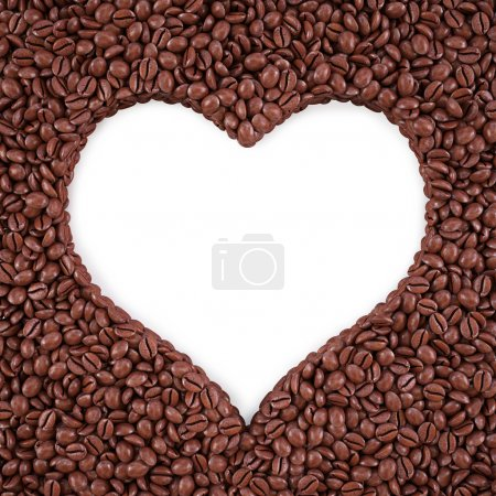 Photo for Heart-shaped frame from coffee beans. isolated on white. - Royalty Free Image