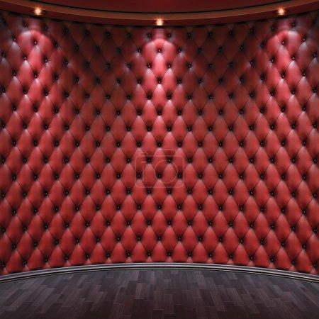 Photo pour Habitacle luxueux avec des murs de cuir et parquet en bois - image libre de droit