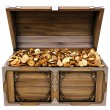 Old wooden chest with gold coins. isolated on a wh...