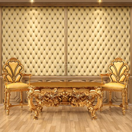 Photo for Luxurious interior with leather walls and classical furniture of gold. - Royalty Free Image