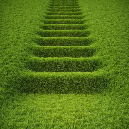 Photo for Stairway covered with green grass. - Royalty Free Image