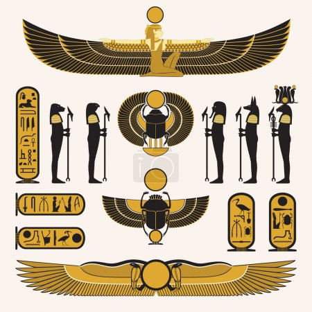 Ancient Egyptian symbols and decorations in yellow black design.