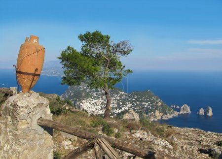 Island Capri view from the highest point Monte Solaro