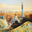 Barcelona, Park Guell terrace at dusk painted on t...