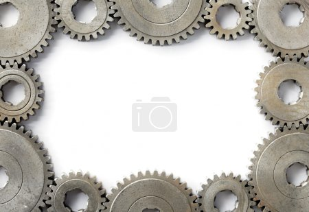 Photo for Background image with a frame made of old cog gear wheels. - Royalty Free Image