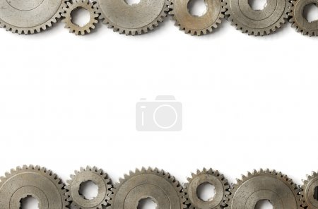 Photo for Background image with old cog gear wheels on the sides. - Royalty Free Image