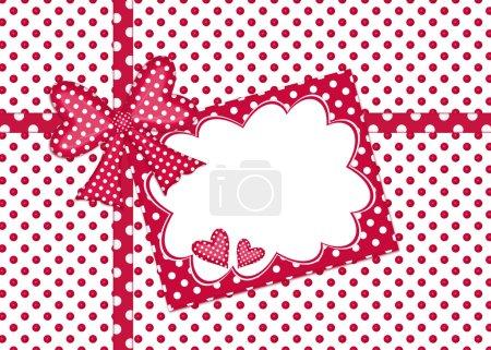 Photo pour Arc à pois rouges et blancs et ruban avec carte cadeau - image libre de droit