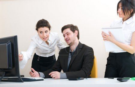 Young group of business working at the office