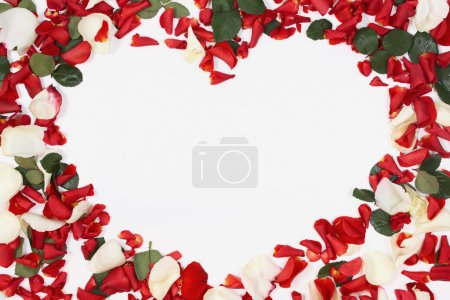 Photo for Heart shaped bouquet of red and white roses on white background - Royalty Free Image