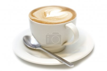 Photo for Cup of cappuccino with foam in the form of heart - Royalty Free Image