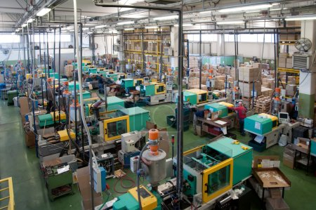 Injection molding machines in a large factory
