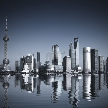 Photo for Wide angle view of Shanghai, China skyline.the landmark of shanghai. - Royalty Free Image