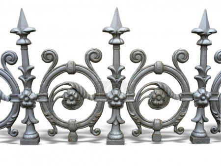 Forged decorative fence with shadow isolated over white