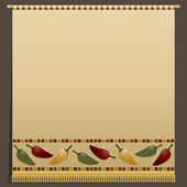 Large wall hanging with gold tassel fringing and chili pepper motifs no transparencies