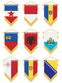Flag pennants isolated on white no gradients or transparencies european set 5