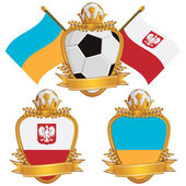 Poland and ukraine football flag emblems for european tournament isolated on white