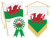 Wales flag rosette and pennant isolated on white