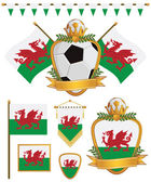 Set of wales football supporter flags and emblems isolated on white