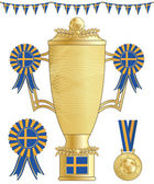 Sweden football trophy medal and rosette isolated on white