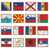 European flags on wooden plaques isolated on white set 3