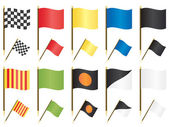 Collection of formula one racing flags isolated on white