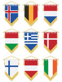 Flag pennants isolated on white no gradients or transparencies european set 2