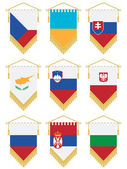 Flag pennants isolated on white no gradients or transparencies european set 3