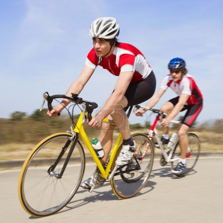 Sprinting cyclists