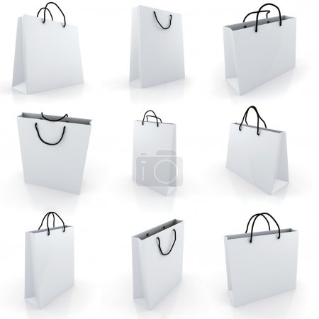 Photo for 3d empty shopping bag, on white background - Royalty Free Image