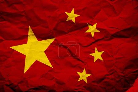 Photo pour Drapeau de la Chine de grunge, image est superposer une texture grungy détaillée - image libre de droit