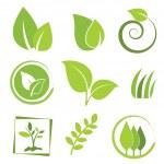 Set of green eco icon...