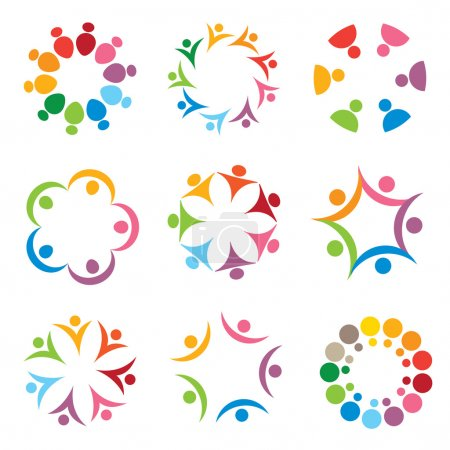 Illustration for Set of social icons in joyful colors - Royalty Free Image