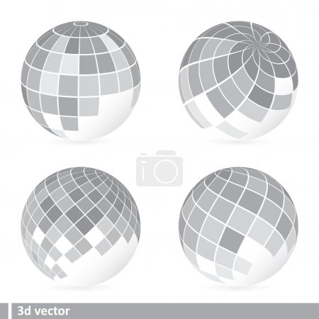 Set of abstract mosaic 3d vector