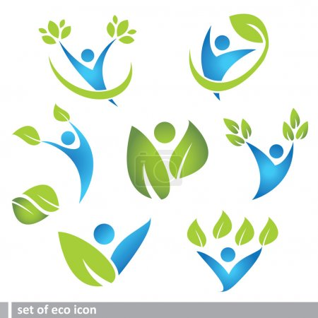 Illustration for Set of eco and icon in different colors - Royalty Free Image