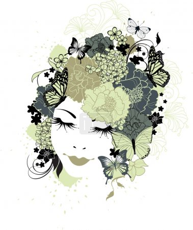 Illustration for The beautiful girl with flowers in hair - Royalty Free Image