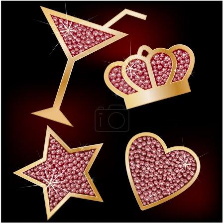 Illustration pour Couronne, étoile, cœur, les martinis décorés de brillants. Icônes vectorielles . - image libre de droit