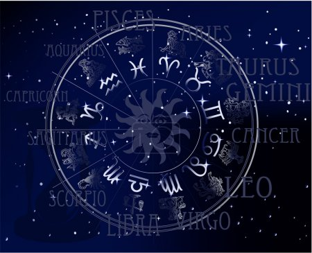 Illustration for Horoscope - sky zodiac vector signs - Royalty Free Image
