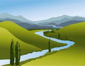 """Постер, картина, фотообои """"горный пейзаж с рекой"""""""
