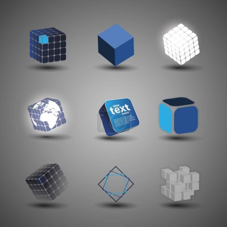 Illustration for Collection Of Cube Designs in Freely Scalable and Editable Vector Format - Royalty Free Image