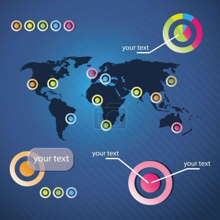 Illustration pour Modèle de fond d'entreprise bleu avec carte du monde Illustration en format vectoriel librement évolutif et modifiable - image libre de droit