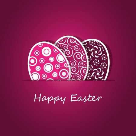 Illustration for Purple Happy Easter card template with abstract painted eggs design in editable vector format - Royalty Free Image