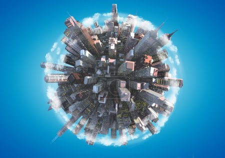 Photo for Miniature planet as concept for chaotic urban life - Royalty Free Image
